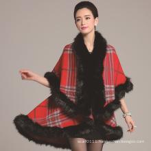 Lady Fashion Checked Pattern Acrylic Knitted Fur Winter Shawl (YKY4460)
