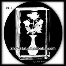 K9 3D Laser Rose Blume im Inneren Kristall Rechteck