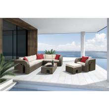 Mano al aire libre de los muebles de la rota que teje el sofá de la forma de L