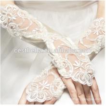Diseño Personalizado de los guantes blancos de la longitud de la muñeca Guantes nupciales del cordón de Fingerless
