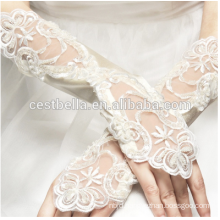 Custom Design Off White Wrist Length Gloves Fingerless Lace Bridal Gloves