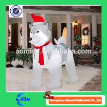 Chien husky gonflable mignon gonflable de chien de décoration de noël à vendre