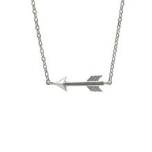 Collar de plata de ley 925 con flecha pulida alta
