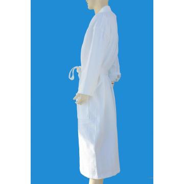 100% Baumwoll-Waffel-Diamant-Muster Kimono-Weiß-Luxus-Bademantel