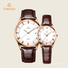 Mens Women′s Fashion Leather Stainless Steel Quartz Wrist Watch 70035