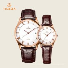 Relógio de pulso de aço inoxidável de quartzo de couro da forma das mulheres dos homens 70035