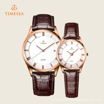 Montre-bracelet à quartz en acier inoxydable pour femme en cuir de mode 70035
