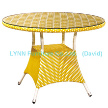 Yellow Rattan Coffee Table Wicker Furniture