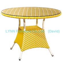 Mesa de café de rotinho amarelo Mobília de vime
