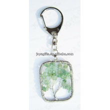 Natural Aventurine chip stone wired lucky tree pendant keychain