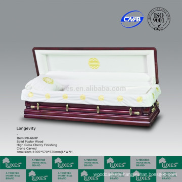 European American Style Wood Casket With Chinese Crane Carving