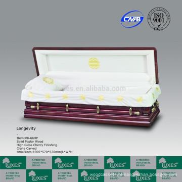 Cores de estilo americano europeu LUXES de caixões mão esculpida caixões