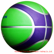 Silvery Line Colorful Official Size Rubber Basketball