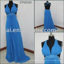 PP0040 2015 Elegante azul Backless vestido de noche con cuentas de buena calidad