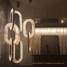Suspension led en cristal de fer de la salle à manger
