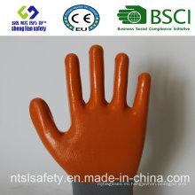 13G poliéster Shell con guantes de trabajo revestidos de nitrilo (SL-N106)