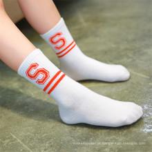 Tiras de moda e meias de letra para Little Girl Lovely Socks de algodão