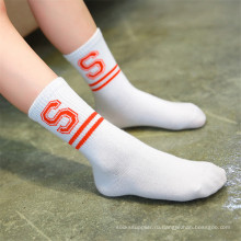 Модные полоски и носки с буквами для маленьких девочек Прекрасные хлопковые носки