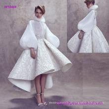 Nova moda elegante mangas de balão vestido de casamento decote alto com chá Lengh Flare Saia