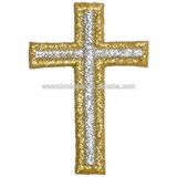 Metallic thread cross embroidery patch church cross patch