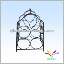 welded sturdy black counter display retail wrought iron wine bottle rack