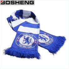 Bufanda azul y blanca del ventilador del Scooer de la raya del equipo de fútbol