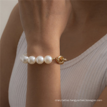European and American Fashion Jewellery Gold and Silver Jewelry Punk Hip-Hop Cuban Aluminum Chain Stitching Imitation Pearl Bracelet for Women