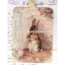 2015 Festival Favor Adorable Rabbit Gift Tags / Tea Drinking Rabbit Hole Punch Paper Tags de cadeaux