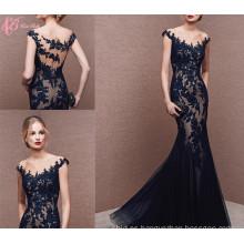 Alibaba Suzhou barato ver a través de encaje negro Applique Sirena vestidos de noche 2017