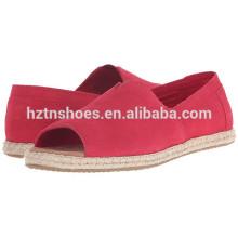 Ladies Jute Sole Espadrille Chaussures Femme Soft Peep Toe Espadrille Flats