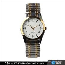Hombres elásticos clásicos reloj banda de material de acero inoxidable