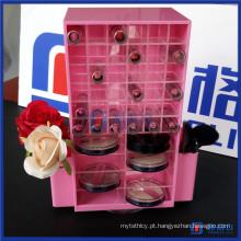 Organizador de maquiagem de cosméticos acrílicos com batom e compartimentos compactos