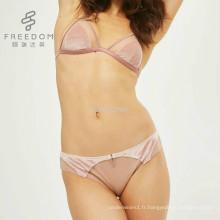 FDBL7112904 filles sexe xxxx photo nouveau design fantaisie triangle net velours sans fil sous-vêtements bralette soutien-gorge culotte ensemble dans l'image