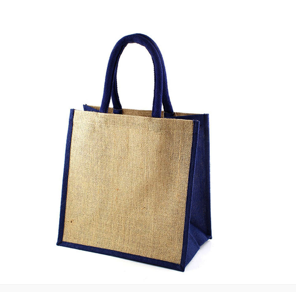 custom blue jute bag