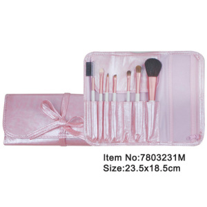 7pcs portable cosmetic brush set with lovely pink satin case