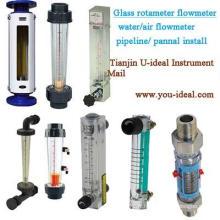 Sight Glass Rotameter Débitmètre air-eau-oxygène tube de verre Rotamètre mesureur de panneaux-pipeline Débitmètre-débitmètre d'eau en plastique