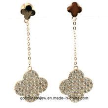 Buena fortuna cuatro hojas de trébol lindo pendientes para las niñas de las mujeres de diseño de moda 925 joyas de plata esterlina E6377
