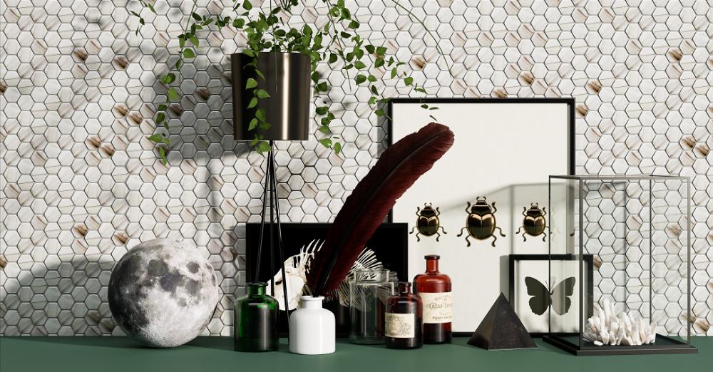 Open kitchen cabinet wall decoration design
