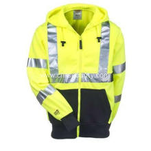 Men's Lime Green High-Visibility Hooded Sweatshirt
