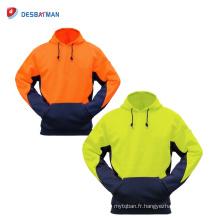 Jaune / Orange Mens Parka sécurité Parka Fleece Hoodie sécurité Workwear poches