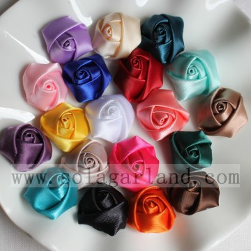 23MM Satin Ribbon Handmade Fabric Rolled Rosette Rose Flowers