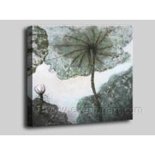 Wand-Kunst Lotus-Blätter Malerei auf Segeltuch für Hauptdekoration (FL1-140)