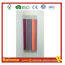 Triangle Strip Barrel Wooden Pencil with Neon Color