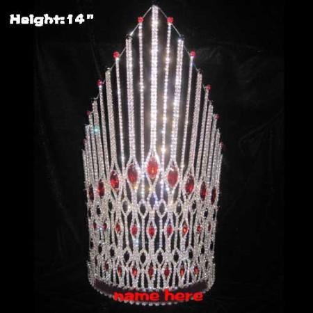 Grandes coronas de diamantes de cristal de diamantes de imitación