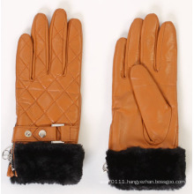 Lady Faux Fur Cuff Leather Fashion Driving Gloves (YKY5168)