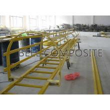 Escalera de plástico reforzado de fibra de vidrio con jaula, escalera FRP / GRP, escalera de fibra de vidrio