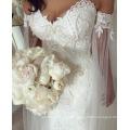 LL058 On Sale Vestido de casamento romântico longo robe de mariee Pescoço de pescoço com mangas completas Veja através de Back Applique Ball Gown Court Train