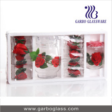 8PCS Printing Glass Drinking Set with Polyfoam Pack