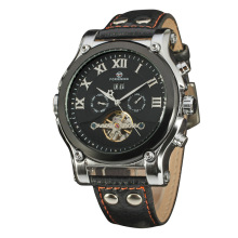 Waterproof stainless steel caseback leather strap watch