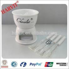 La venta caliente de cerámica blanca Fondue establece con Decal Set de fondue de chocolate con tenedores